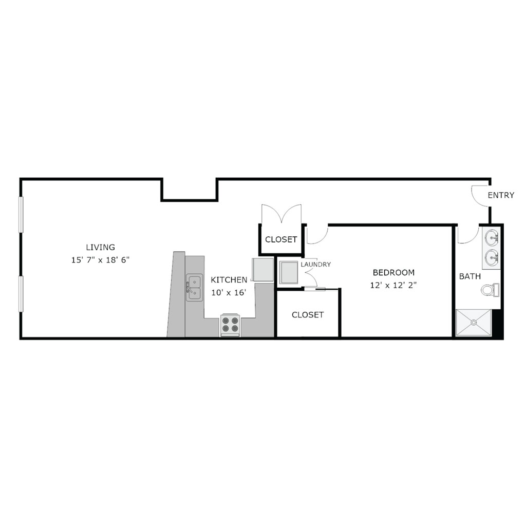 1 Bedroom apartment with an open spaced kitchen area