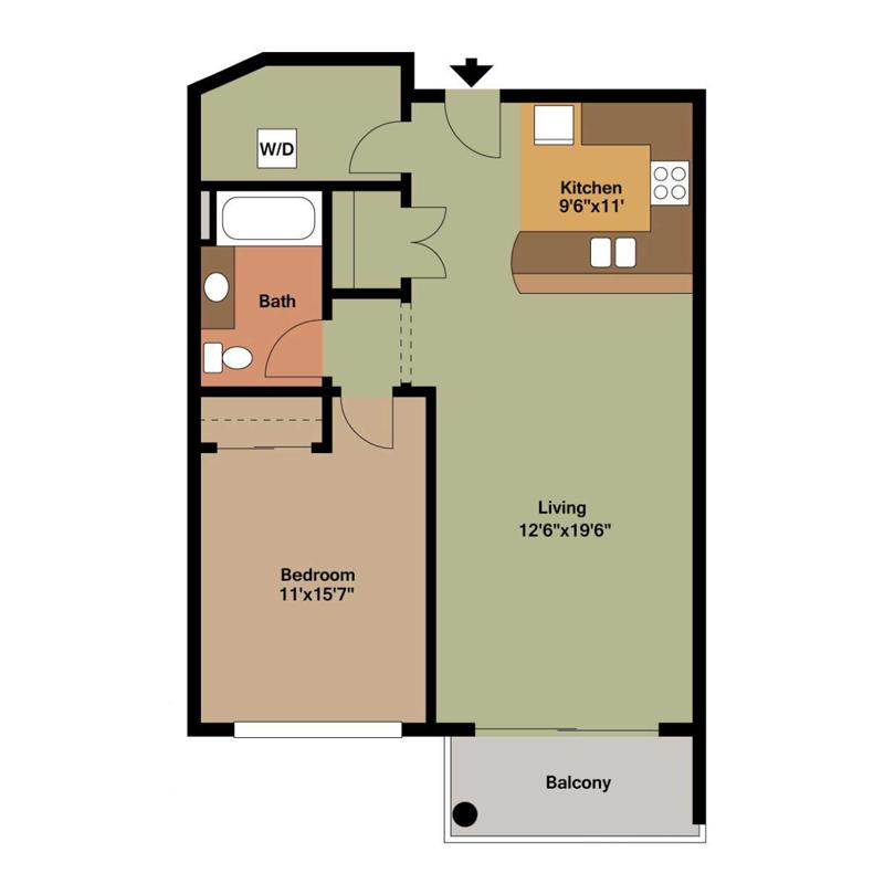 1 Bed Kitchen Bar Floor Plan
