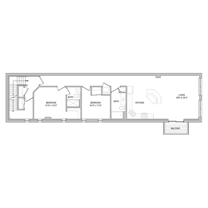 Large 2 Bed and Bath Apt Floor Plan