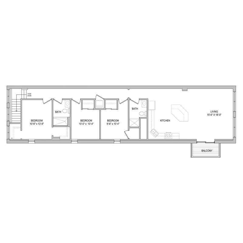 3 Bedroom 2 Bath Apt Floor Plan