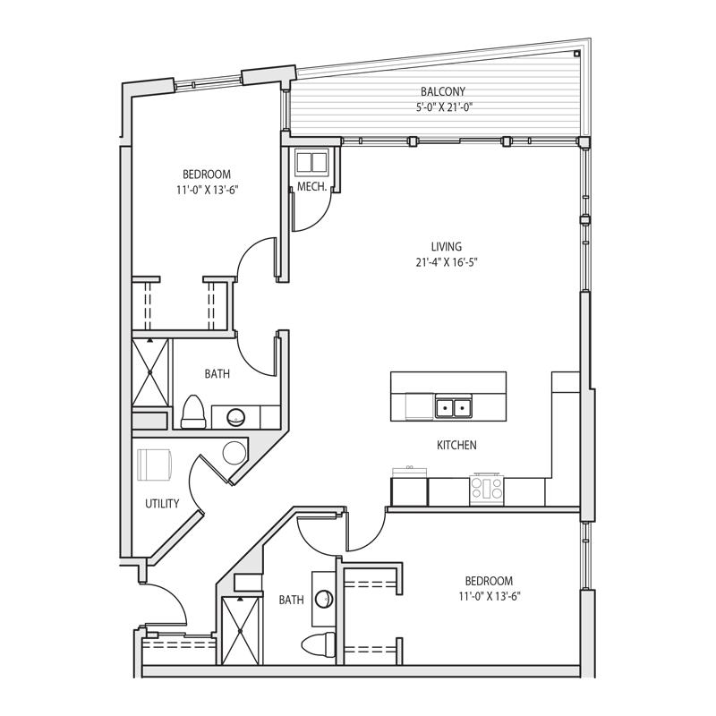 Spacious 2 Bedroom Apartment Floor Plan