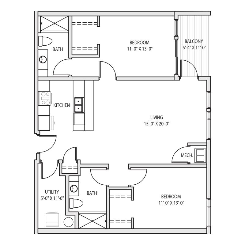 2 Bedroom Apt in Milwaukee Floor Plan