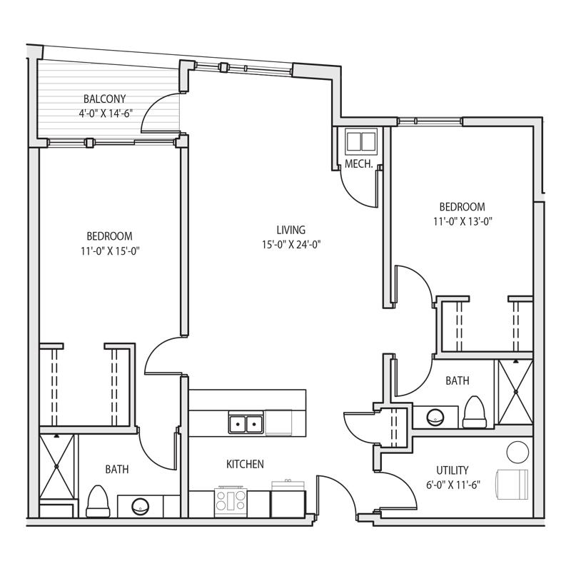 Living Room Between 2 Bed Apt Floor Plan