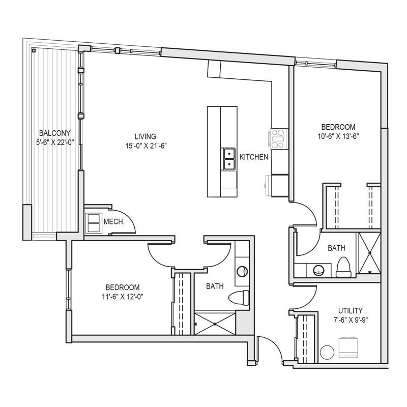 2 Master Bedroom Apartment Floor Plan