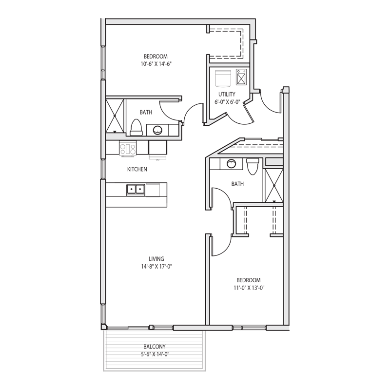 2 Bedroom Evenly Spaced Floor Plan