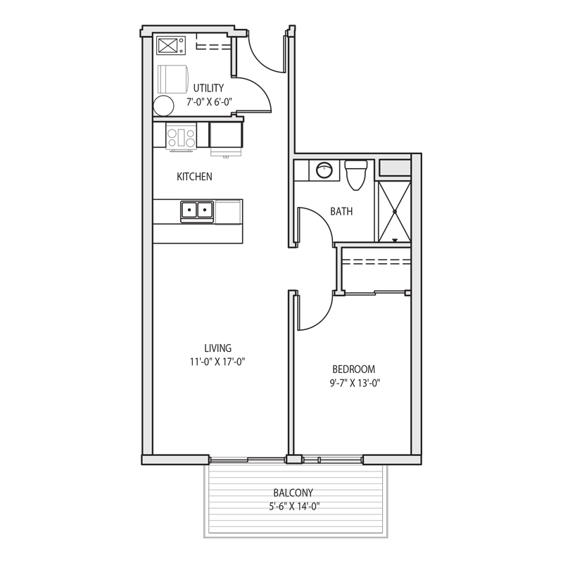 Luxury 1 Bedroom Apartment Floor Plan