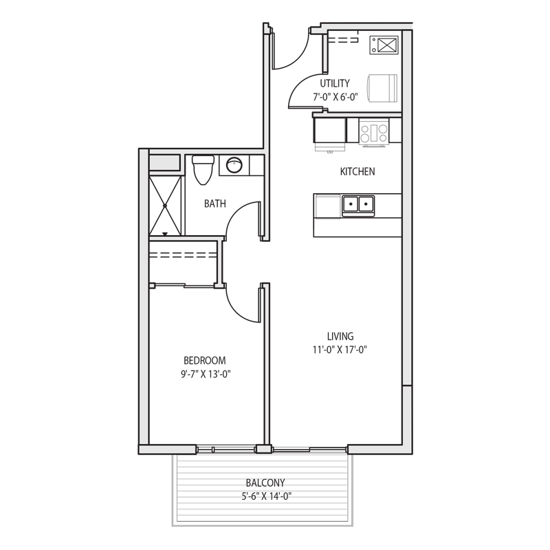 1 Bedroom in Milwaukee Floor Plan