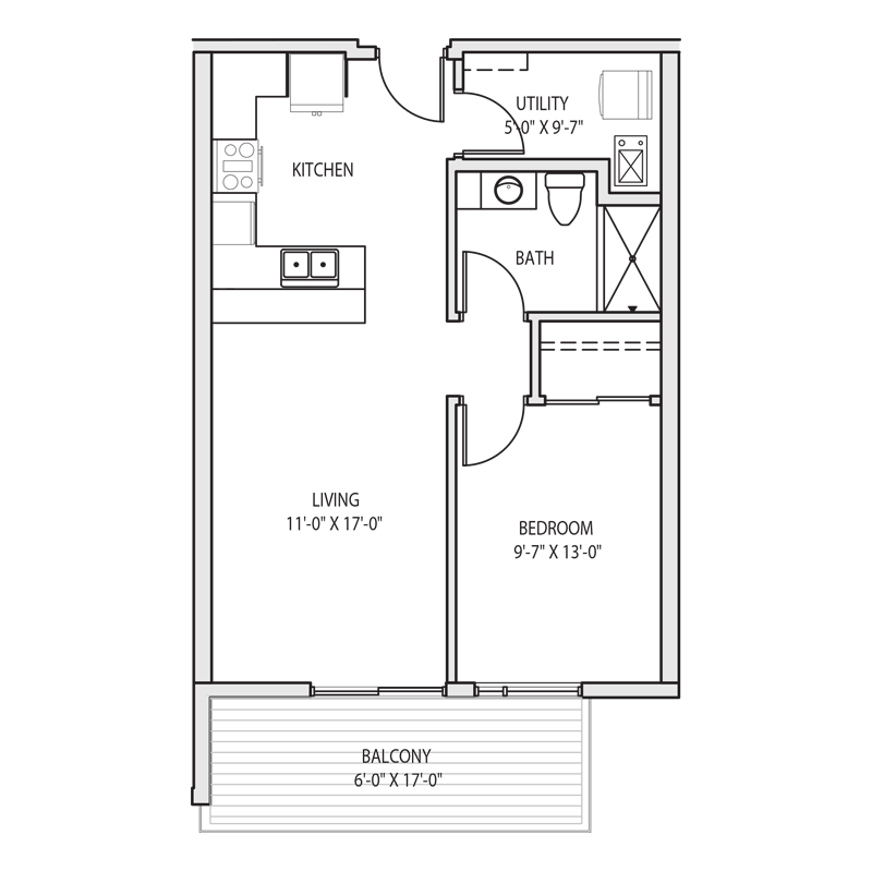Large Balcony for 1 Bedroom Floor Plan