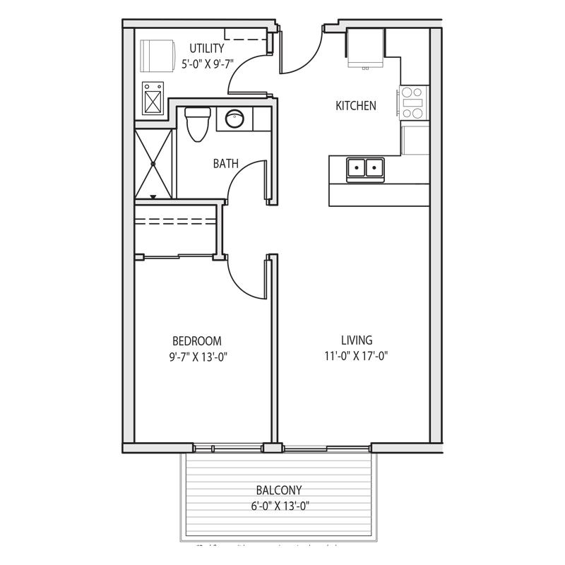 1 Bedroom Apartment for Rent Floor Plan