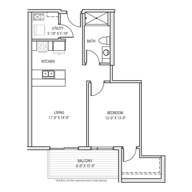 1 Bedroom Walk In Closet Floor Plan