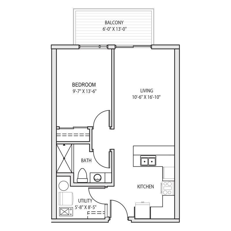 1 Bedroom Kitchen Bar Floor Plan