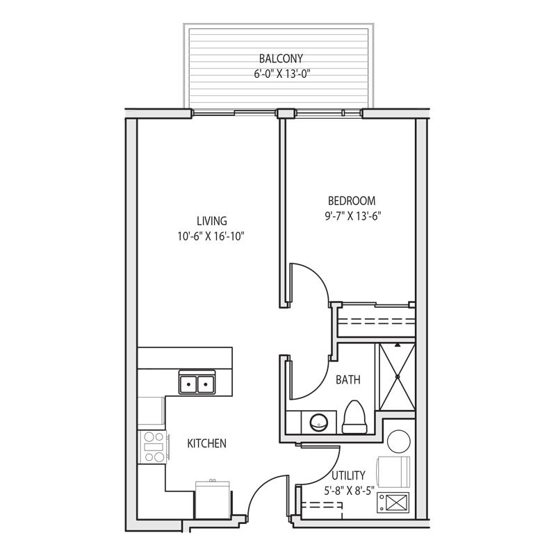 1 Bedroom with Laundry Room Floor Plan
