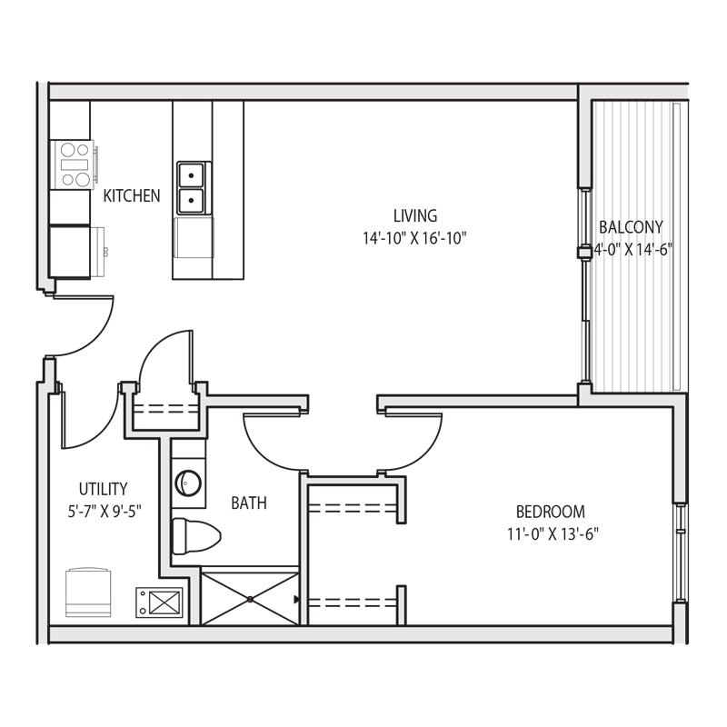 1 Bedroom with Kitchen Island Floor Plan