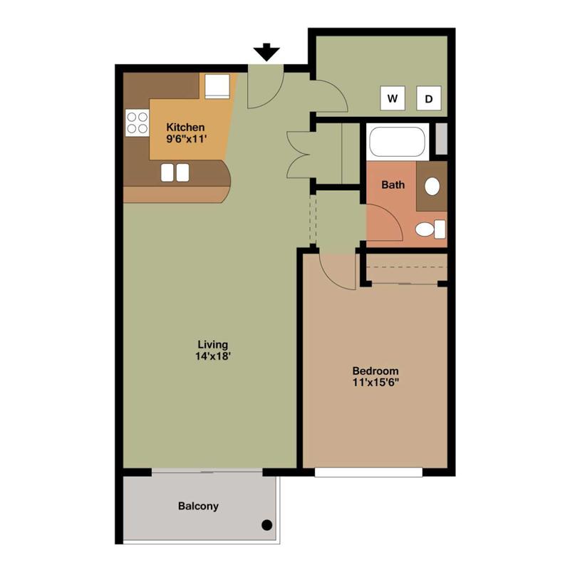 1 Bedroom Apartment Milwaukee Floor Plan