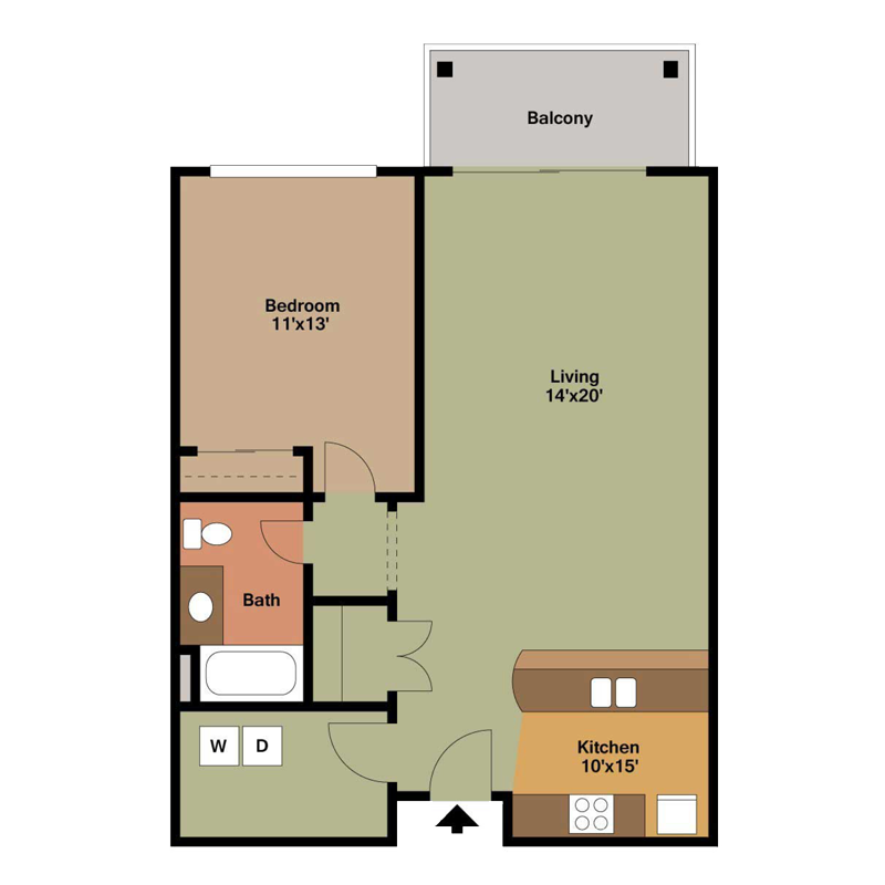 1 Bedroom with Washer Dryer Room Floor Plan