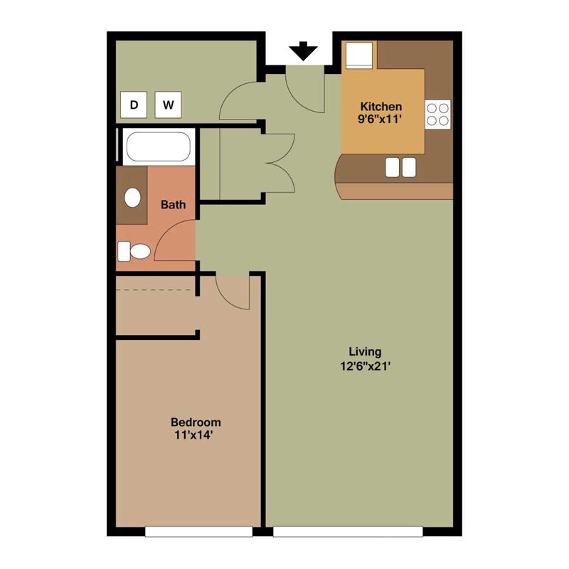 1 Bedroom Apartment in Milwaukee Floor Plan