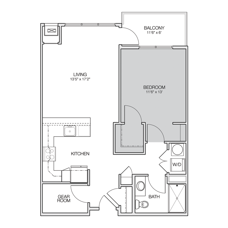 1 Bedroom with Walk In Closet Floor Plan