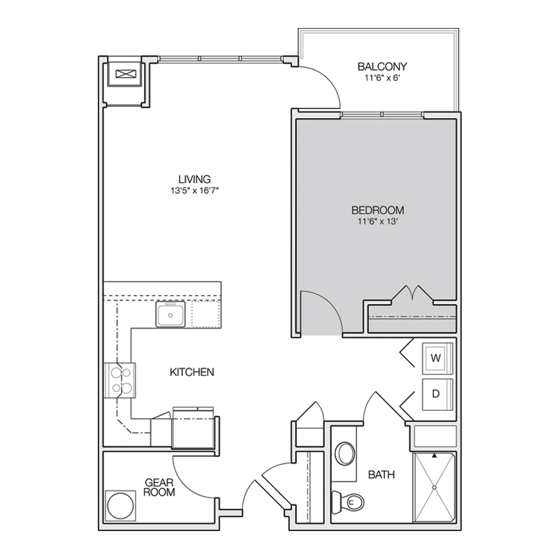 1 Bedroom with Washer Dryer Closet