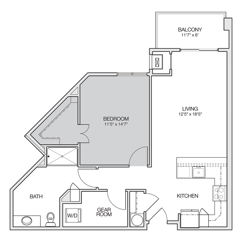 1 Bed and Bath Fun Spaced Floor Plan