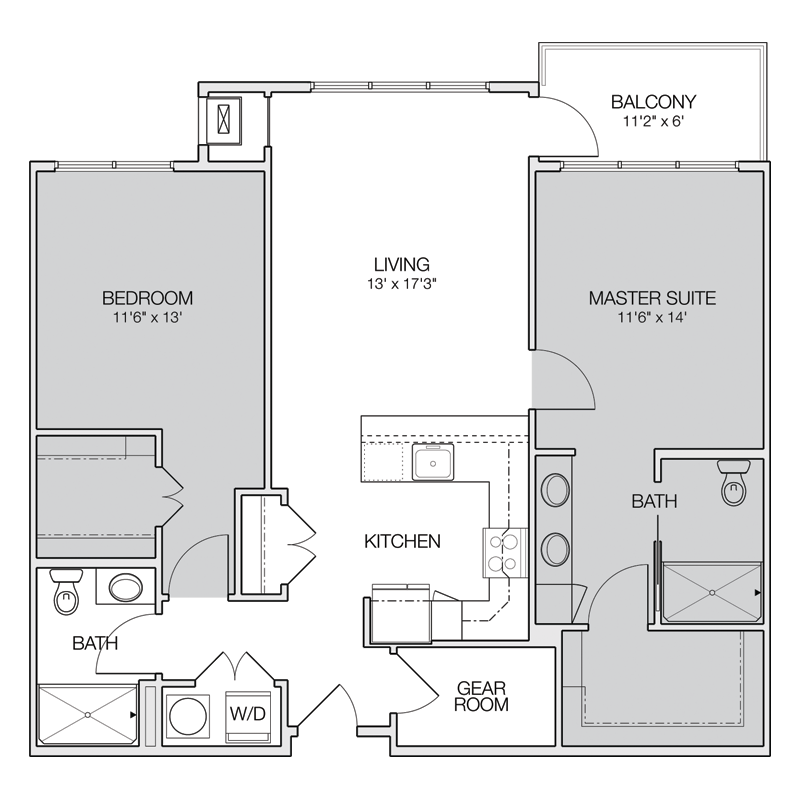 Master Suite Apt with Gear Room Floor Plan