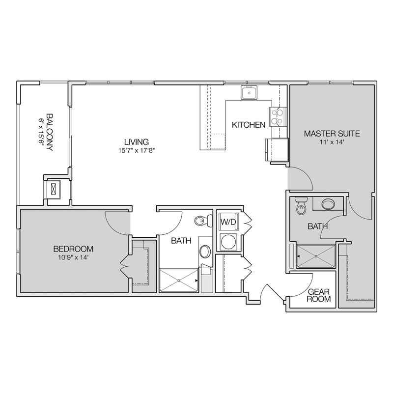 Luxury 2 Bedroom with Balcony Floor Plan