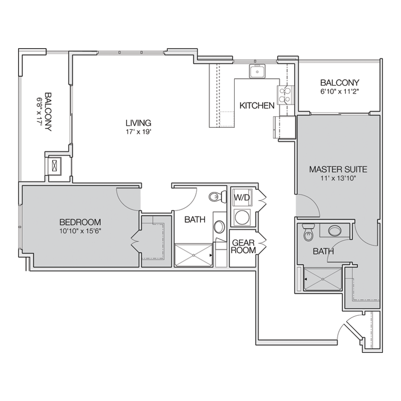 2 Bedroom Apartment for Rent Floor Plan