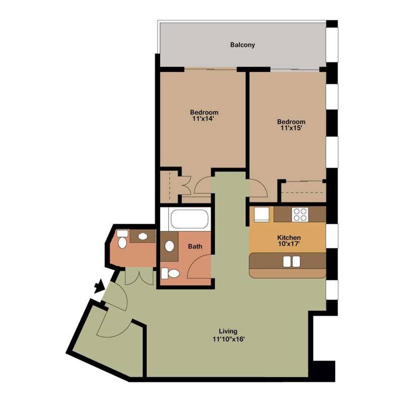 2 Bedroom and 1 and a Half Bathrooms Floor Plan