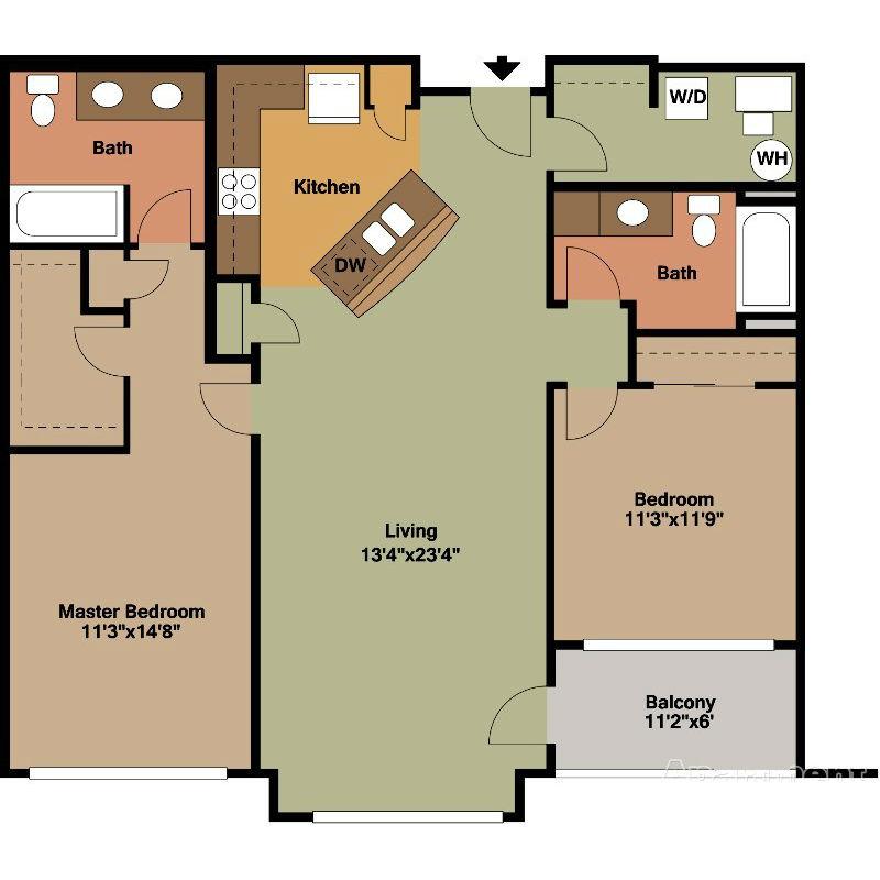 2 Bedroom Apartment for Rent Floor Plan