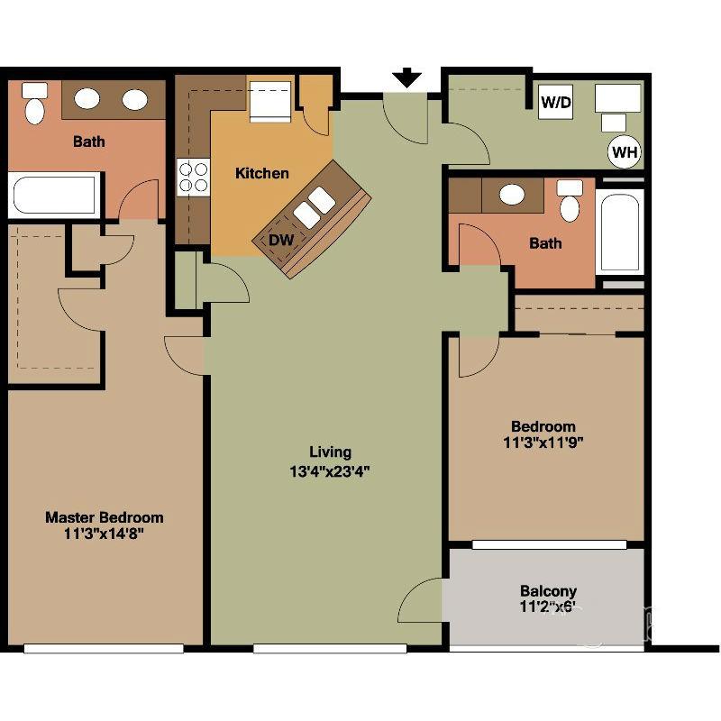 2 Bed Apt for Rent Floor Plan