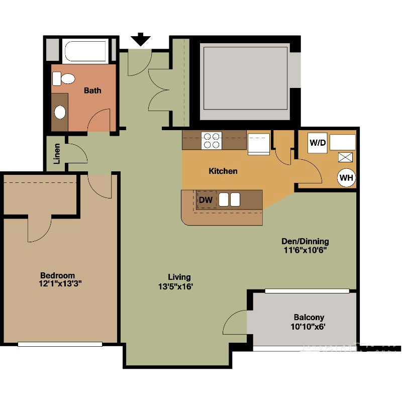 1 Bed with Den/Dinning Area Floor Plan