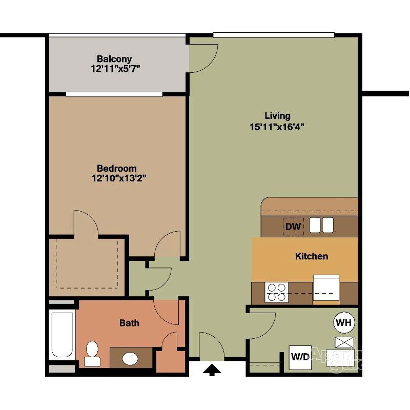 Beautiful 1 Bedroom Apt Floor Plan