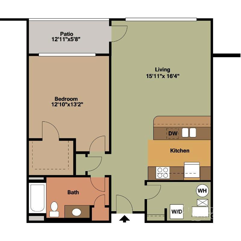 1 Bedroom Apt in Milwaukee Floor Plan