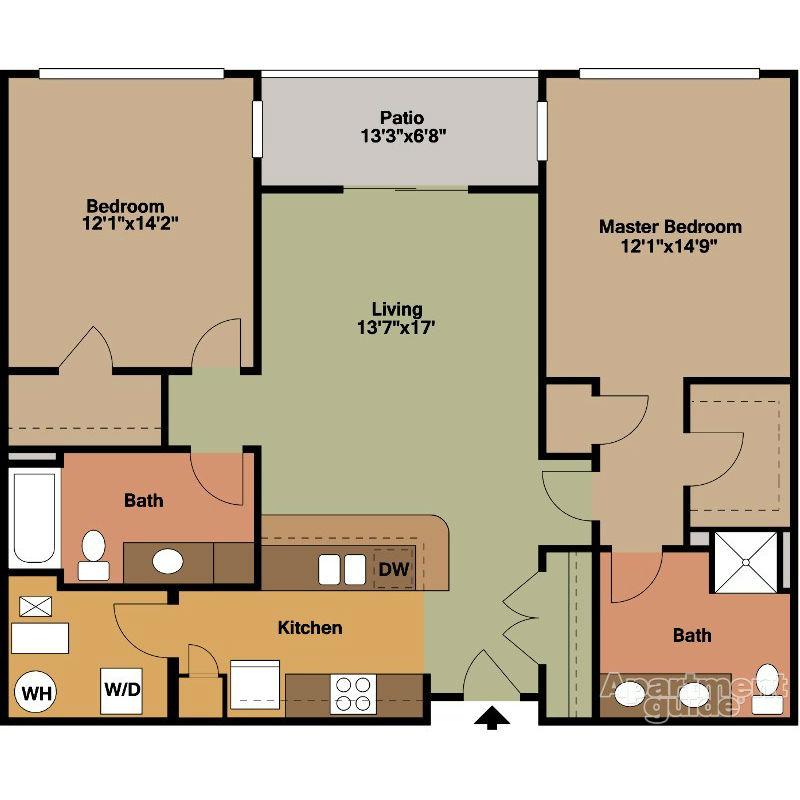2 Bedroom with Patio Floor Plan