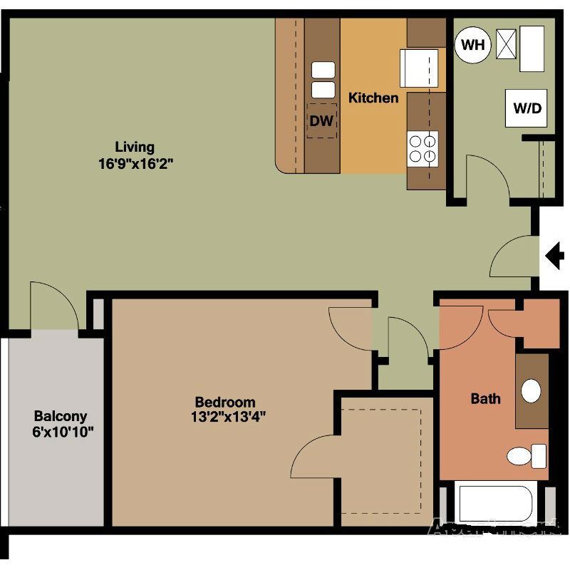 1 Bedroom Jackson Square Floor Plan