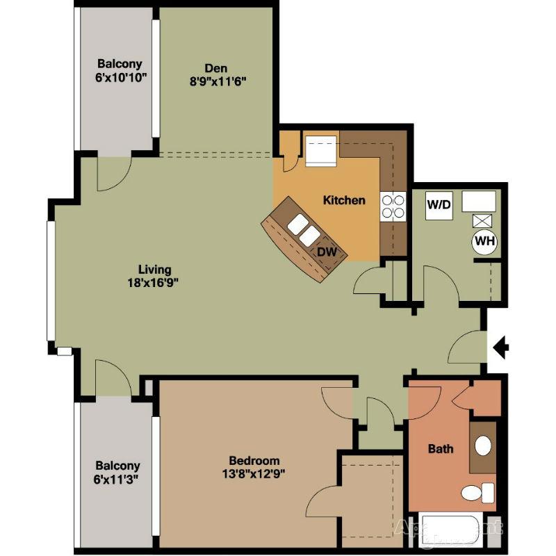 1 Bedroom with 2 Balconies Floor Plan