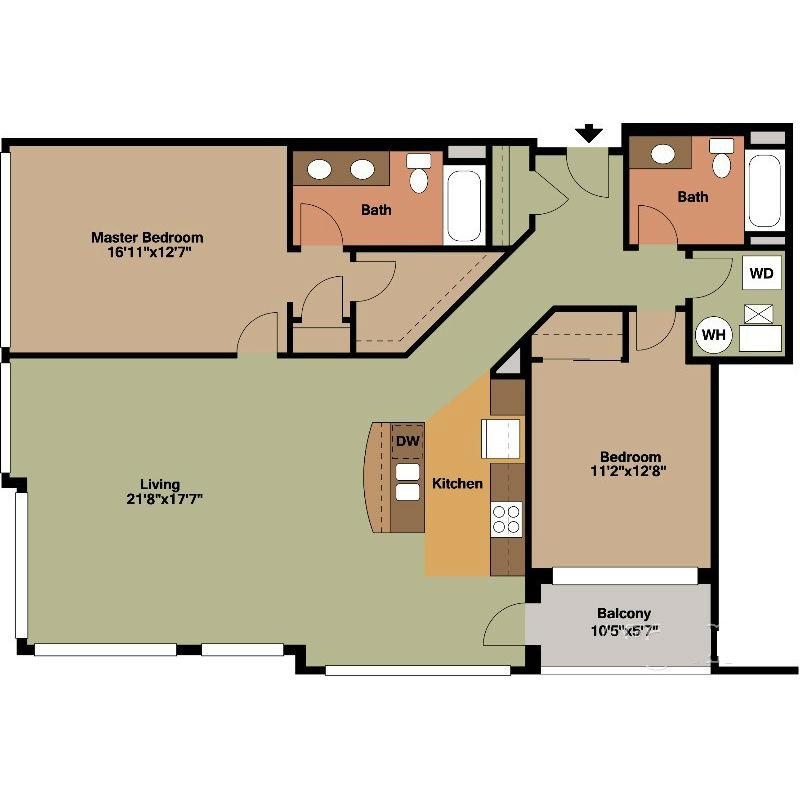 Large Living Room 2 Bed Floor Plan