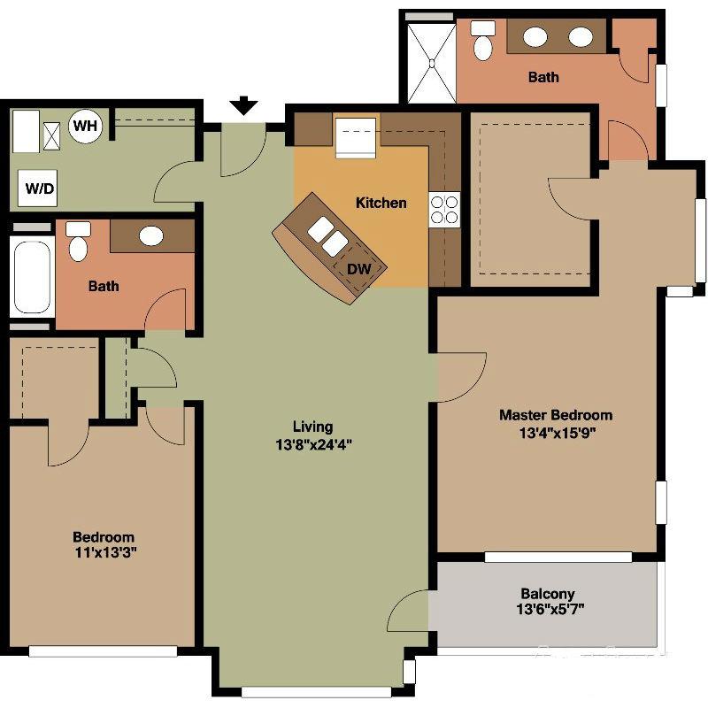 2 Bedrooms Both with Walk In Closet Floor Plan