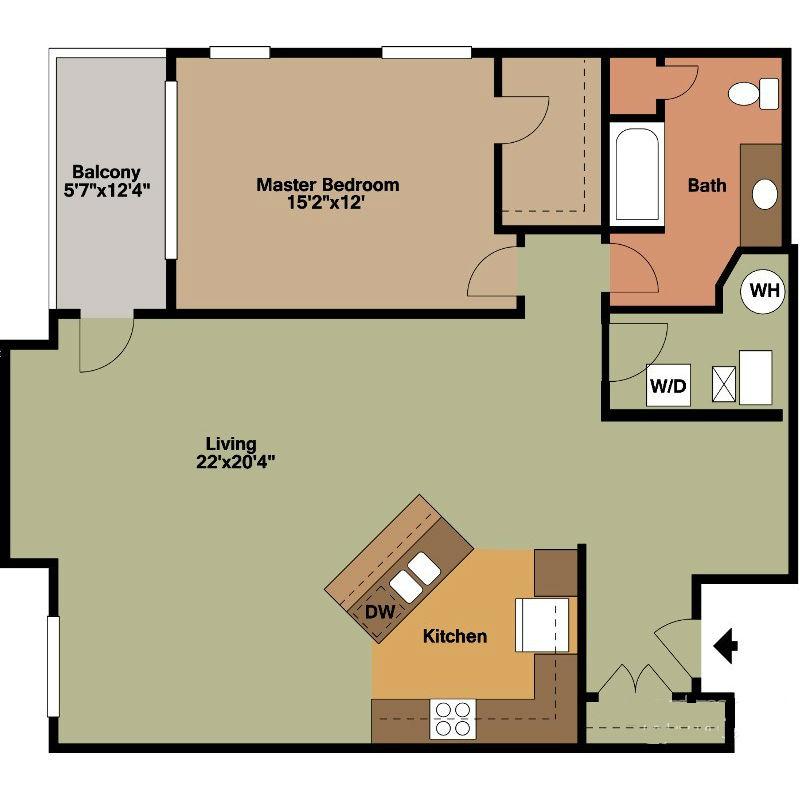1 Bedroom with Kitchen Island Floor Plan