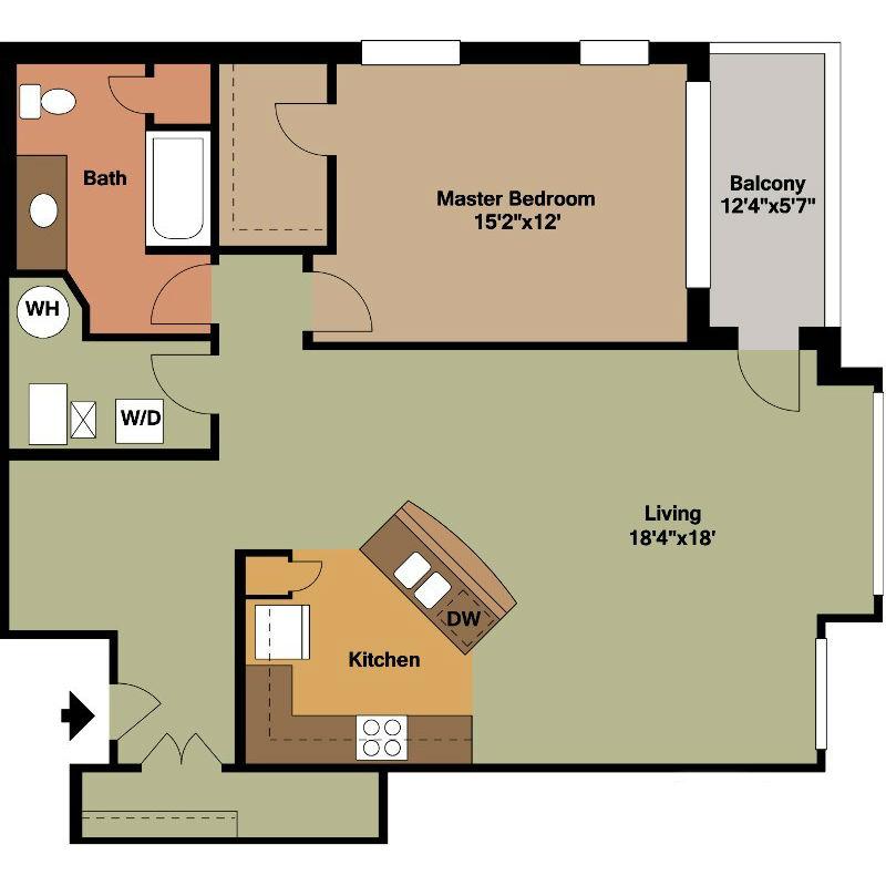 1 Master Bedroom with Washer Dryer Room Floor Plan