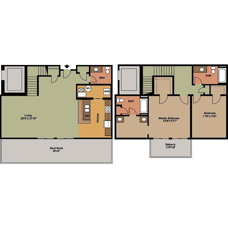 Roof Deck and MB Balcony Floor Plan