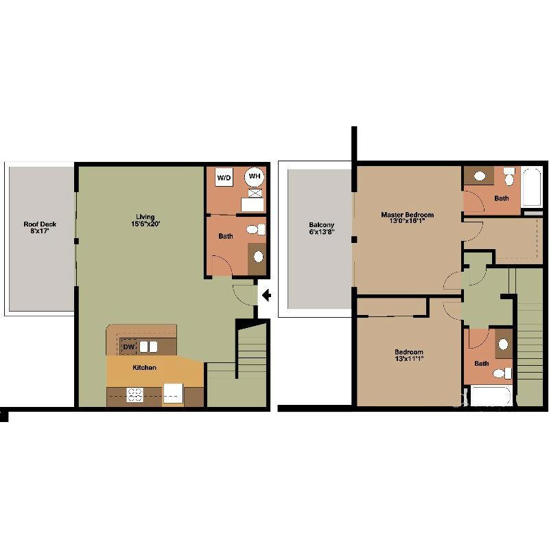 2 Floor Apt with Roof Deck Jackson Floor Plan