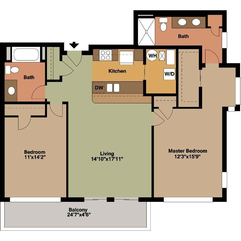 2 Bedroom Apartment Jackson Floor Plan