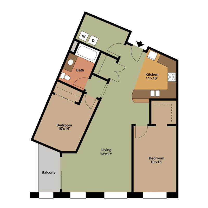 2 Bed and 1 Bath with Large Living Room Floor Plan