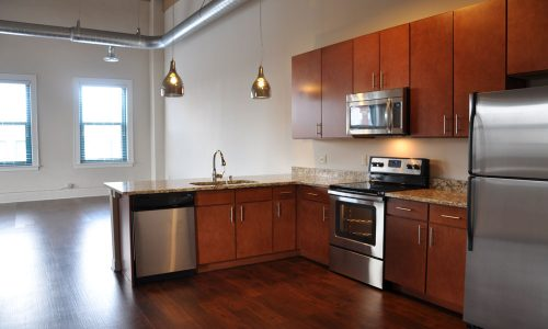Red Wood Kitchen Cabinets Street Lofts