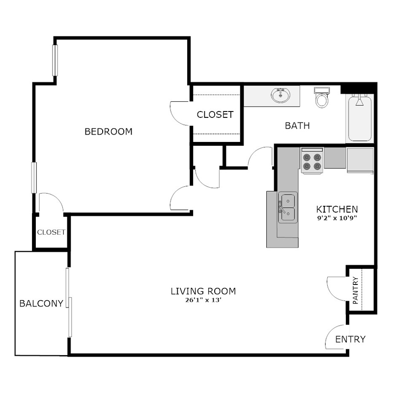 1 Bedroom Apartment with Balcony Floor Plan
