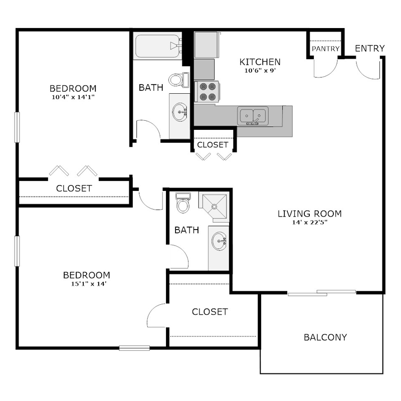Spacious 2 Bedroom 2 Bath Floor Plan
