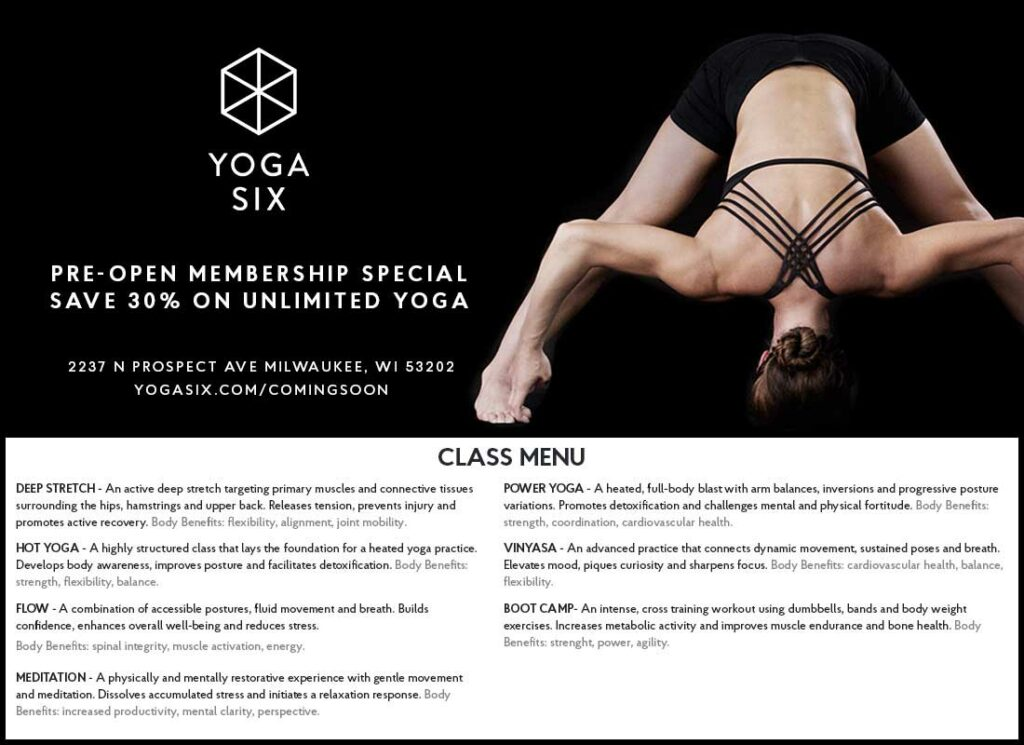 Yoga Six Milwaukee Ad